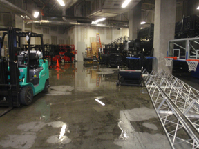 water damage university sports and entertainment arena