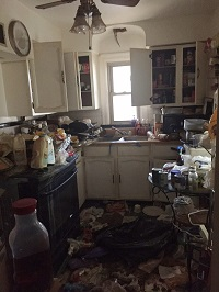 kitchen of hoarder